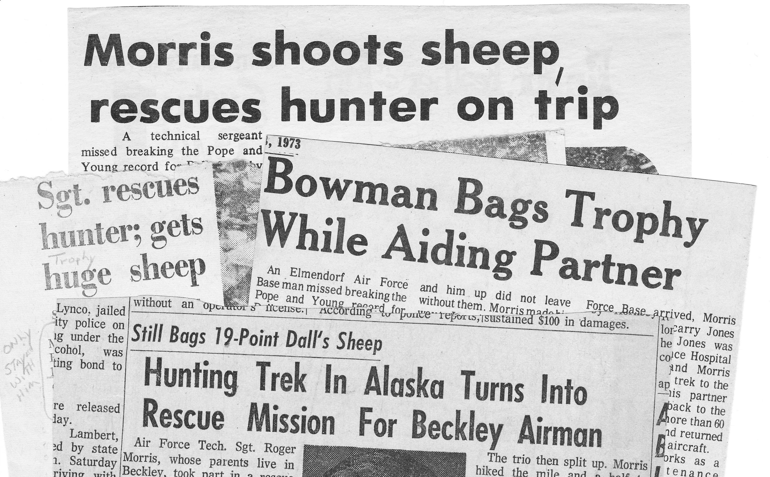 "Old days ""Fake News"" stories.  Headlines from four different newspapers.  Don't believe most of what you read."