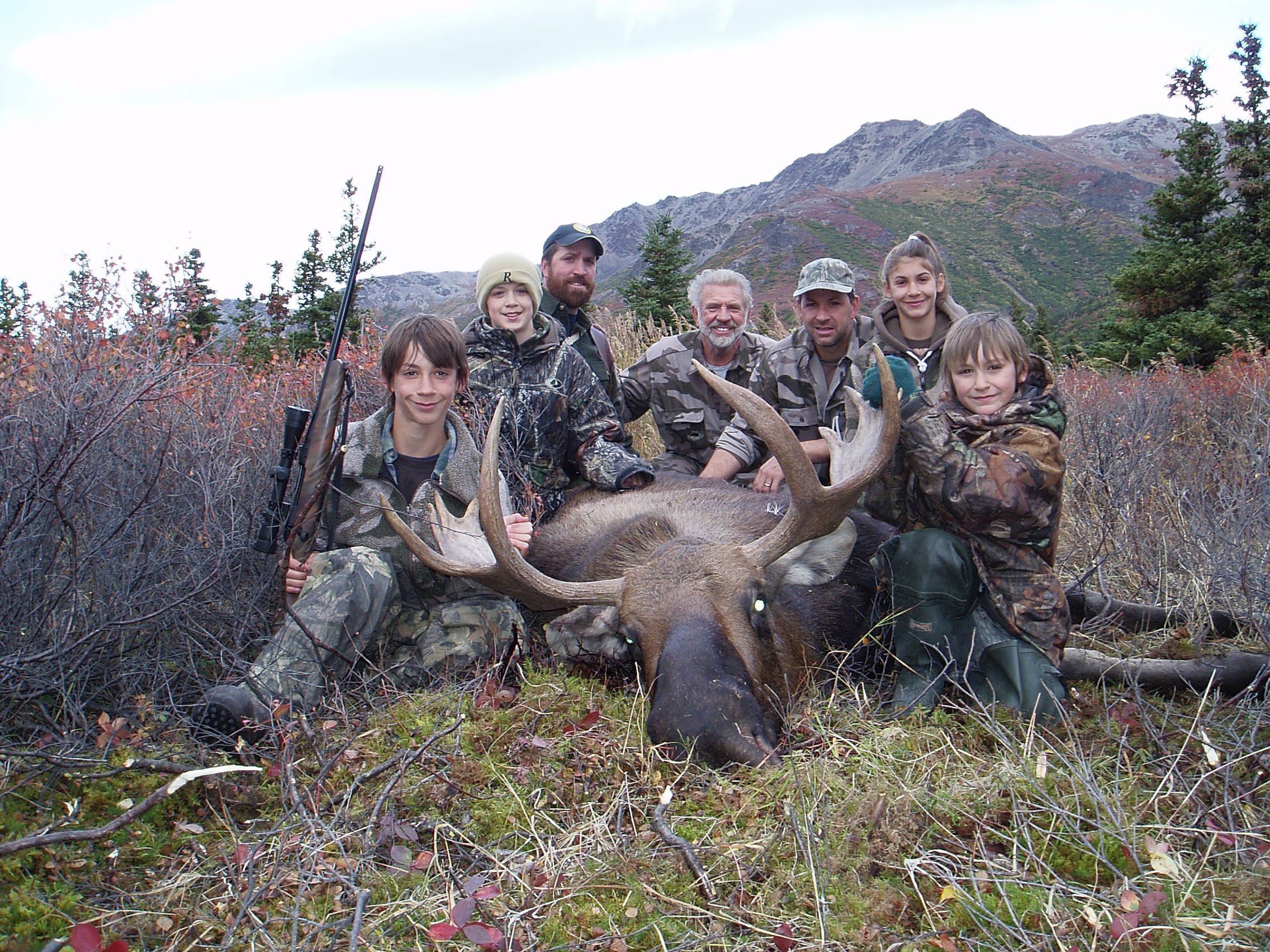 The gang with Jared's moose. (L to R) Jared, Jens, Thor, myself, Sagen, Rachel and Nathan.