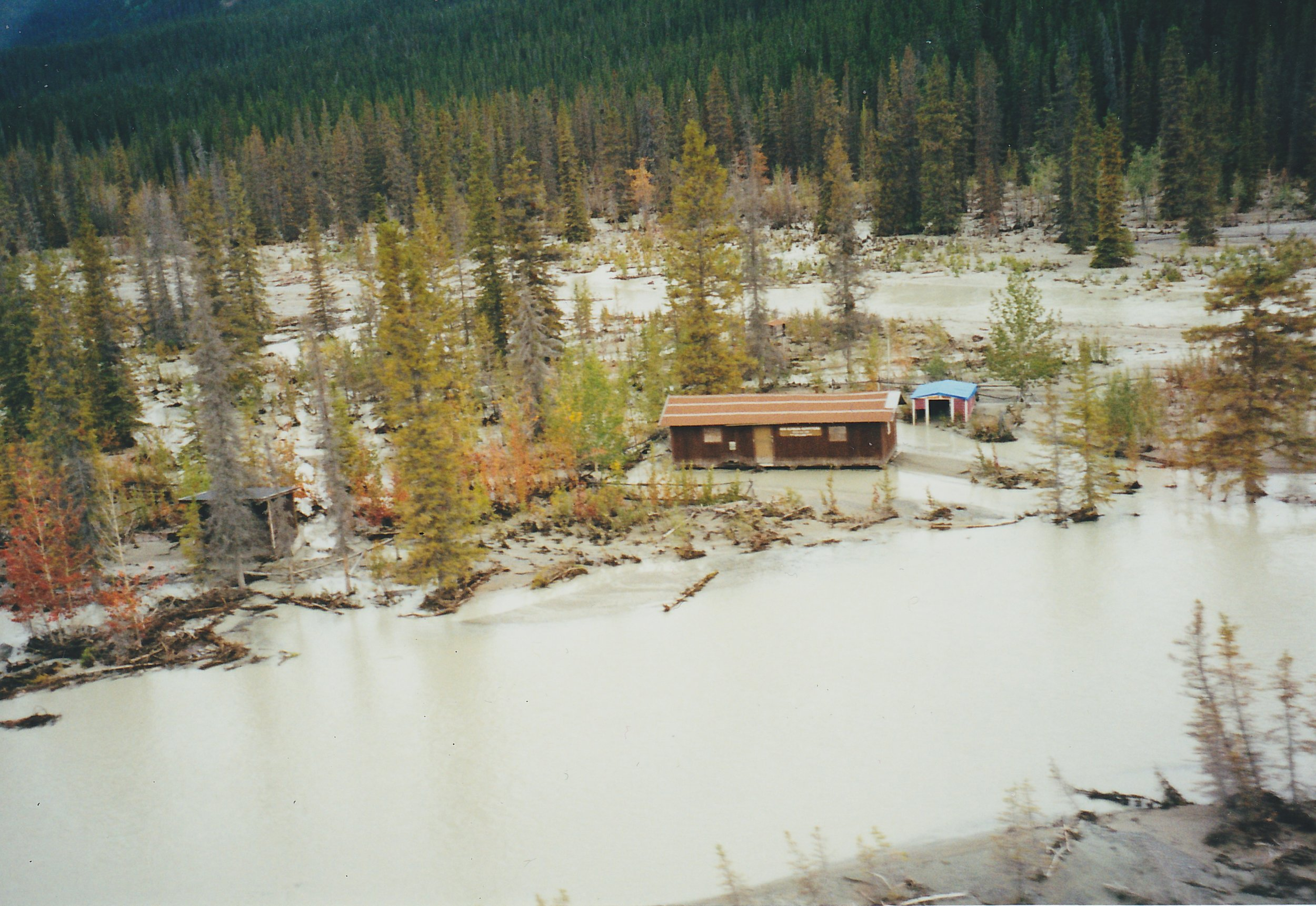 Bryson Bar- You can see the old water line on the side of the cabin. This is one of the main channels of the Chitina River now.