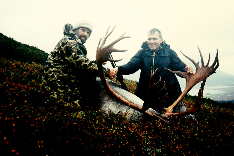 John Herr of ND and me with his wide palmated 427 B&C caribou that he shot at the end of Otter Lake. This was our largest caribou taken in 1991 and the largest that I guided on.