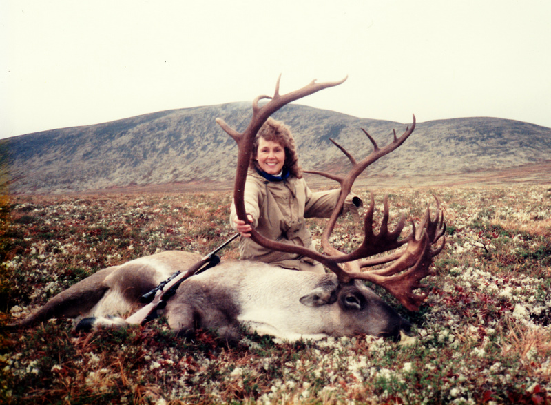 My wife Karen with her first big game animal a giant double shovel that officially scored 403 3/8 B&C.