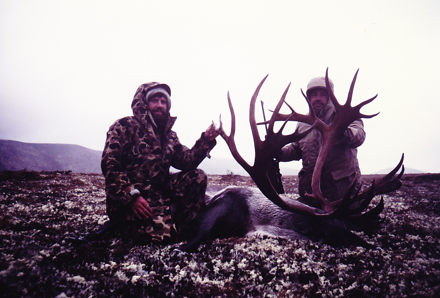 Leonard Anderson of WV and me with his 402 B&C caribou in September 1987. His caribou also scored 444 SCI points making the Safari Club's record book.