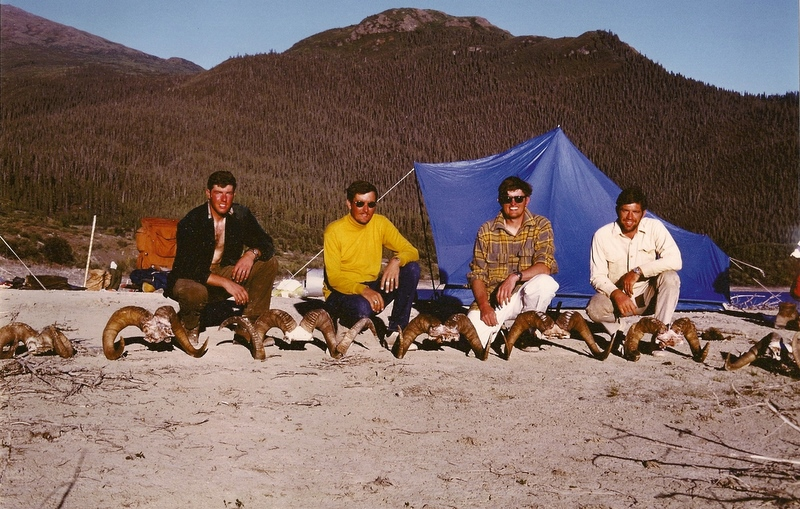 (L to R) Dick, George, Brent and myself with our four rams, plus four pick-ups. Great hunt!!