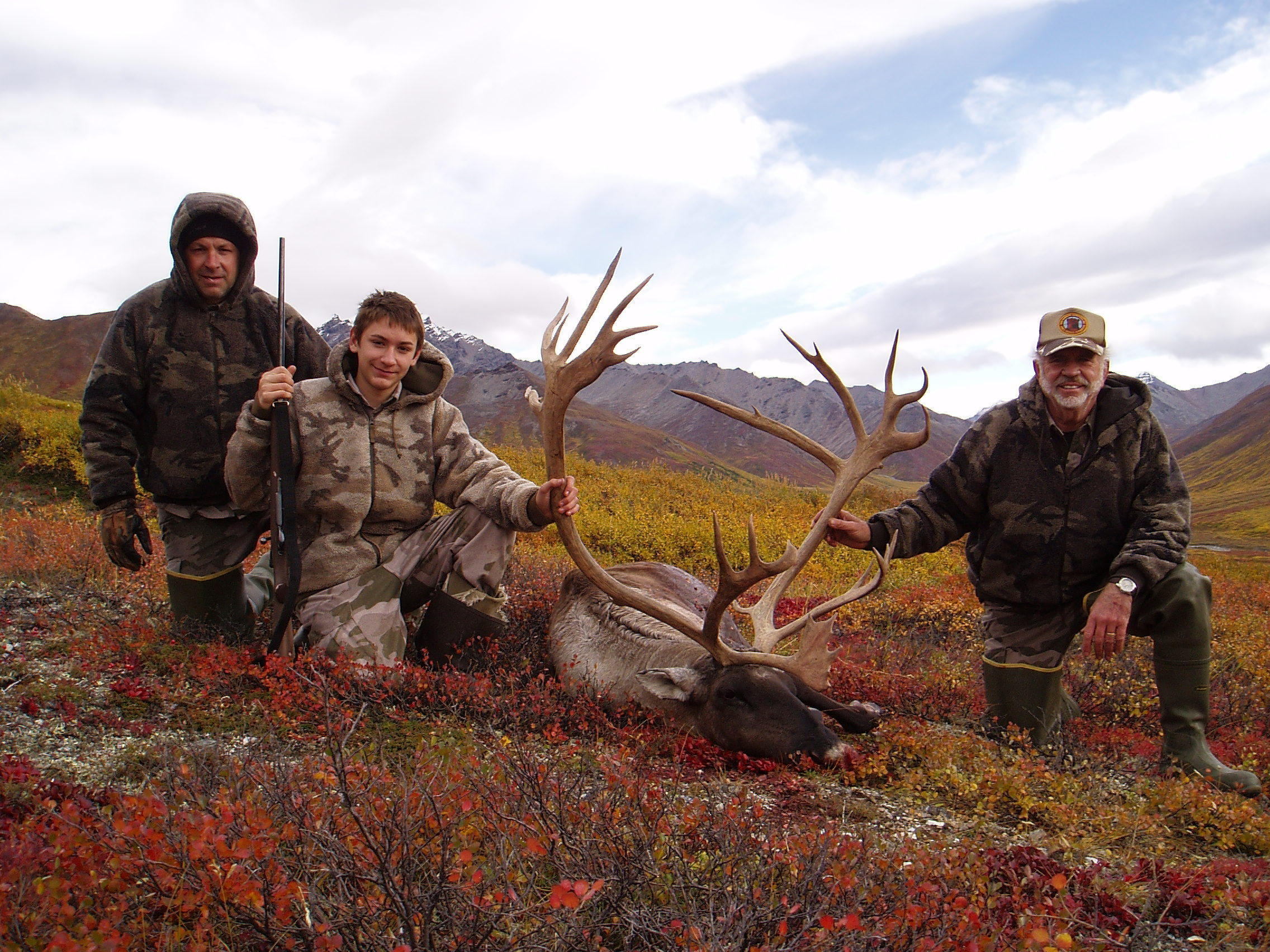 (L to R) Sagen, Nathan and me with Nathan's impressive caribou.