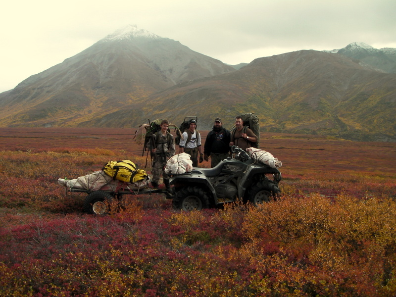 (L to R) Nathan, Jens, Thor and Sagen. The whole moose is on the four wheeler & trailer.