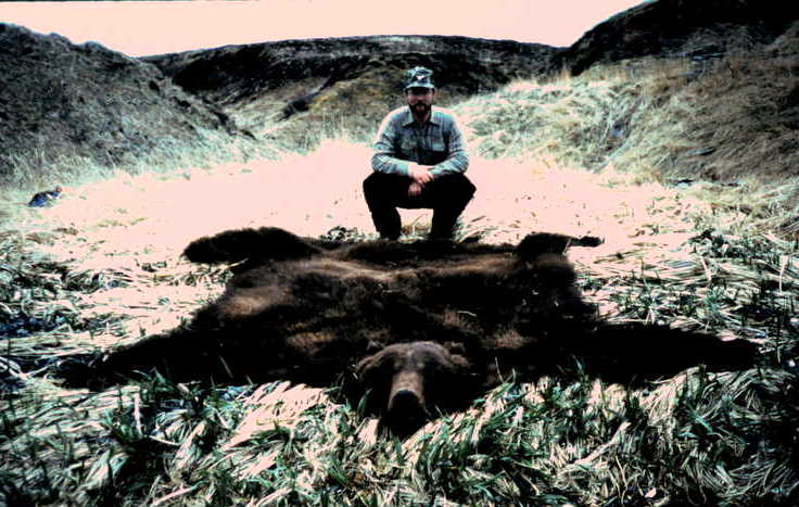 """Tim with his 10'2"""", 28 5/16 Boone and Crockett brown bear."""