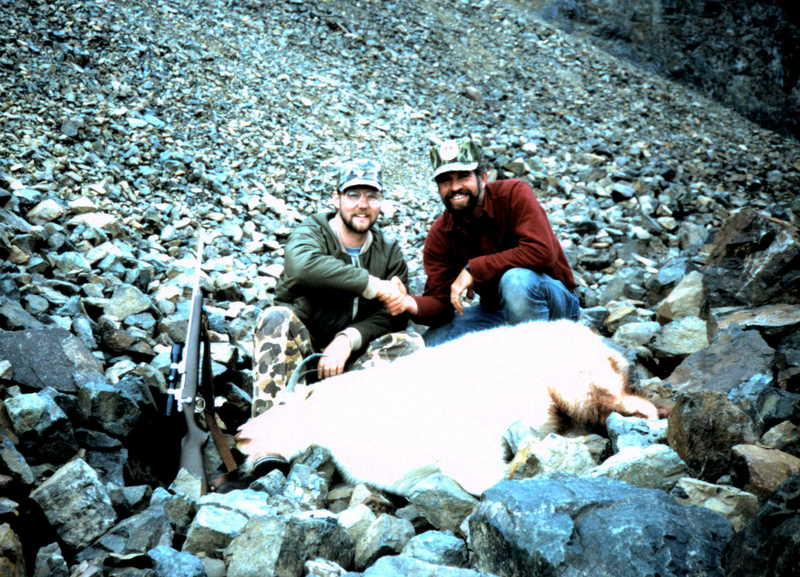 """Tim with his 9"""" mountain goat taken in '85."""