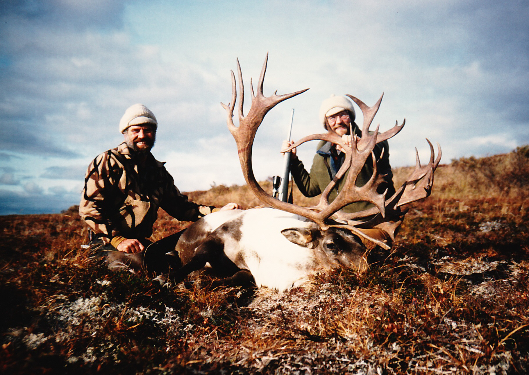 """Tim with another trophy caribou scoring 385 B&C points. It had one short point. Without that it would have been a """"booner."""""""