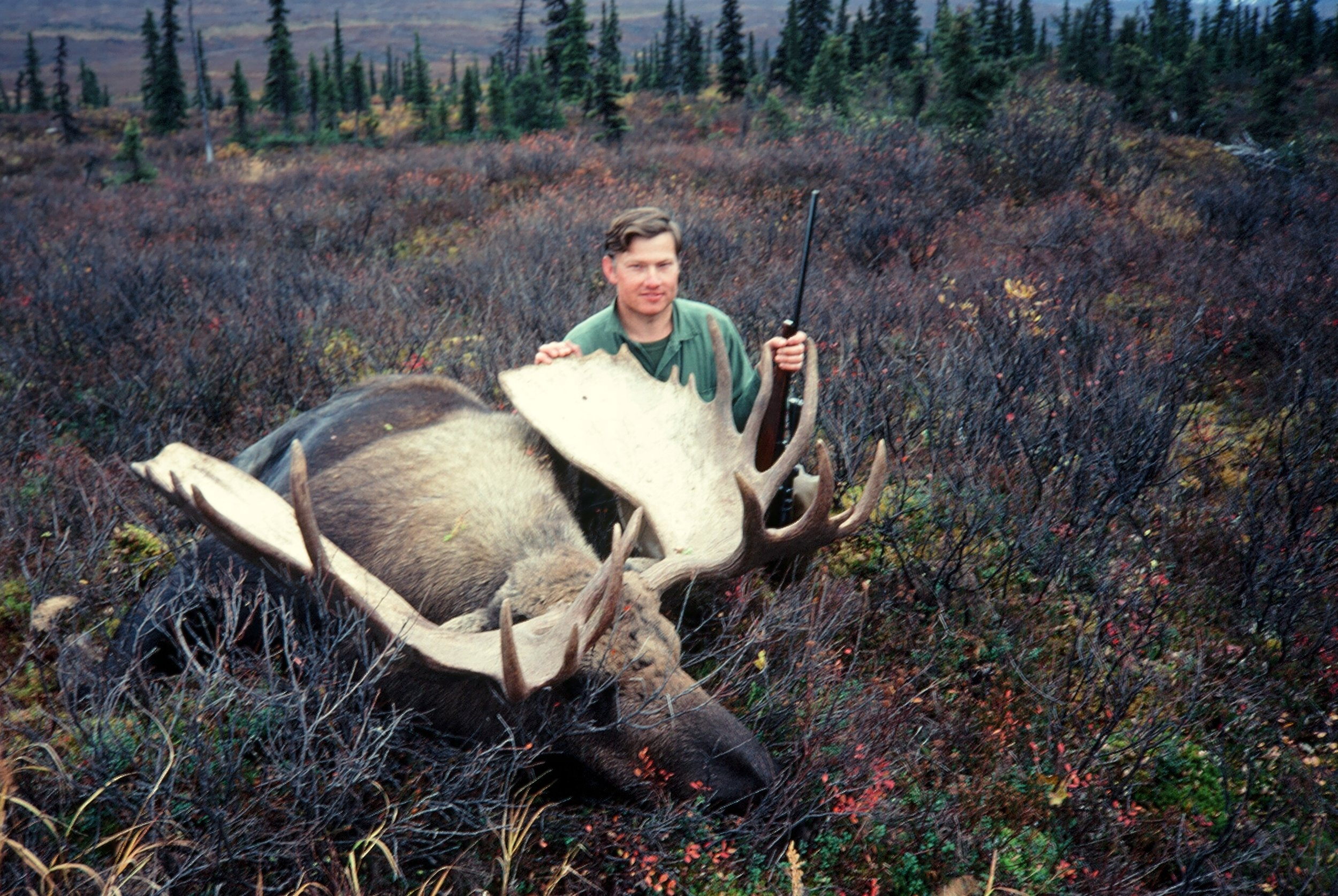 "Ron with his beautiful 60"" moose.  Now the work begins."