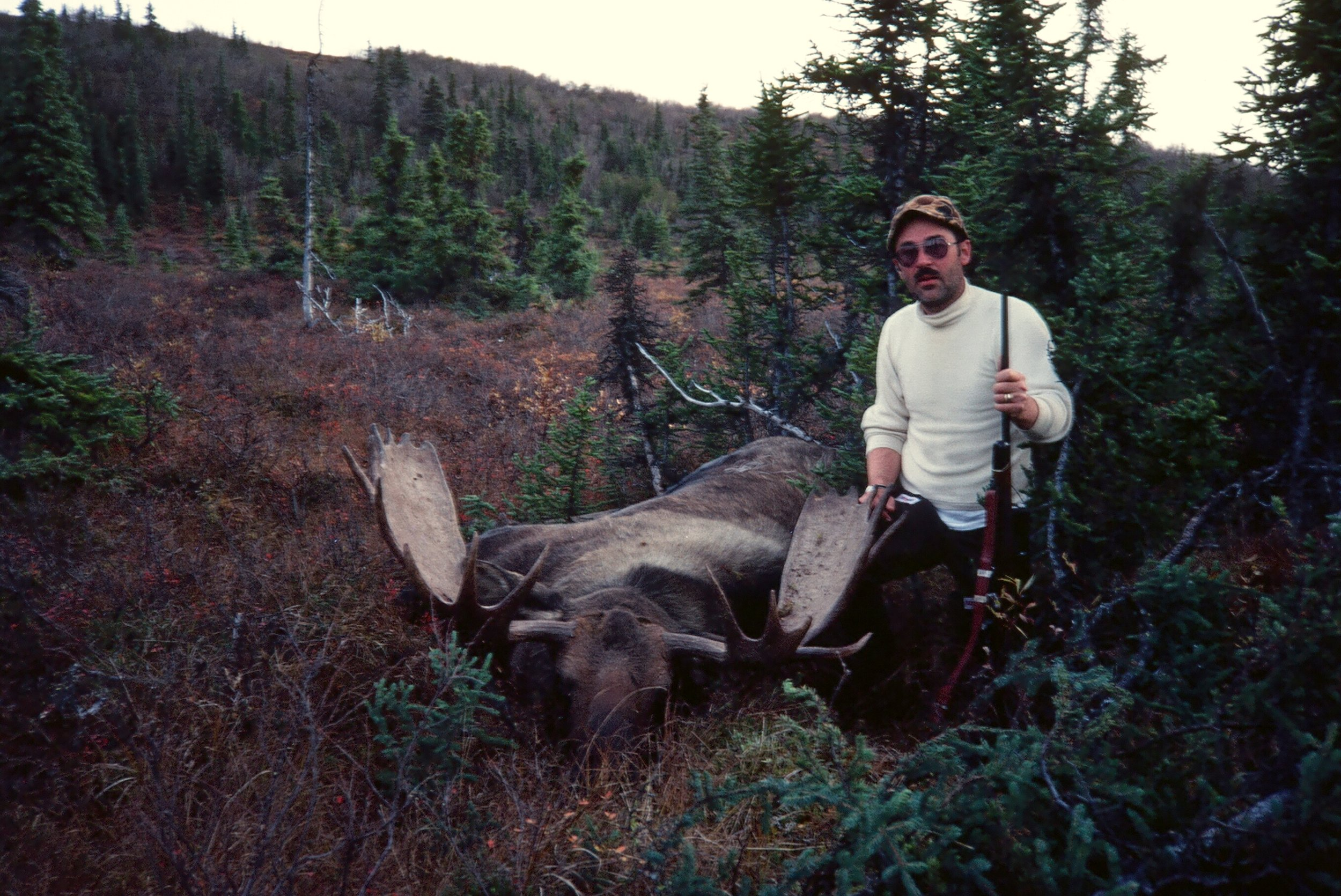 "Earl with his 56"" moose.  Two down and two to go!"