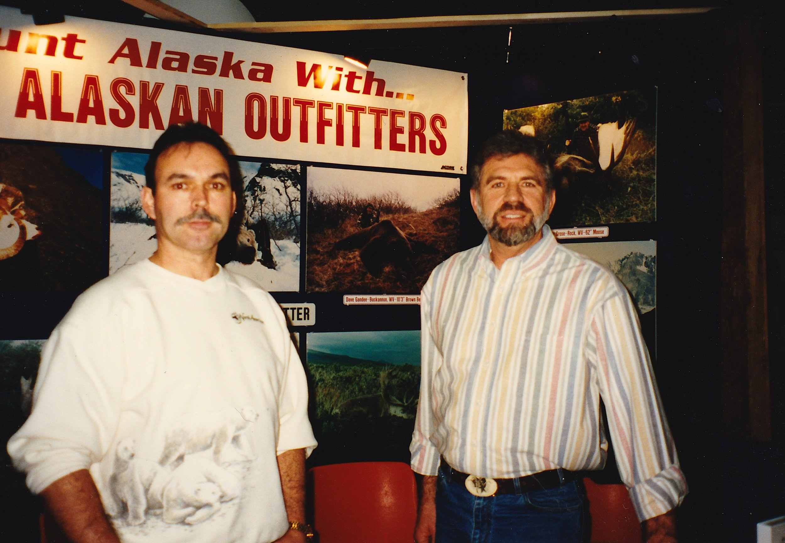 My brother-in-law Randy Wooten and me at one of the earlier West Virginia Hunting and Fishing Shows. I always enjoyed having friends and relatives stop by and help out at the booth.