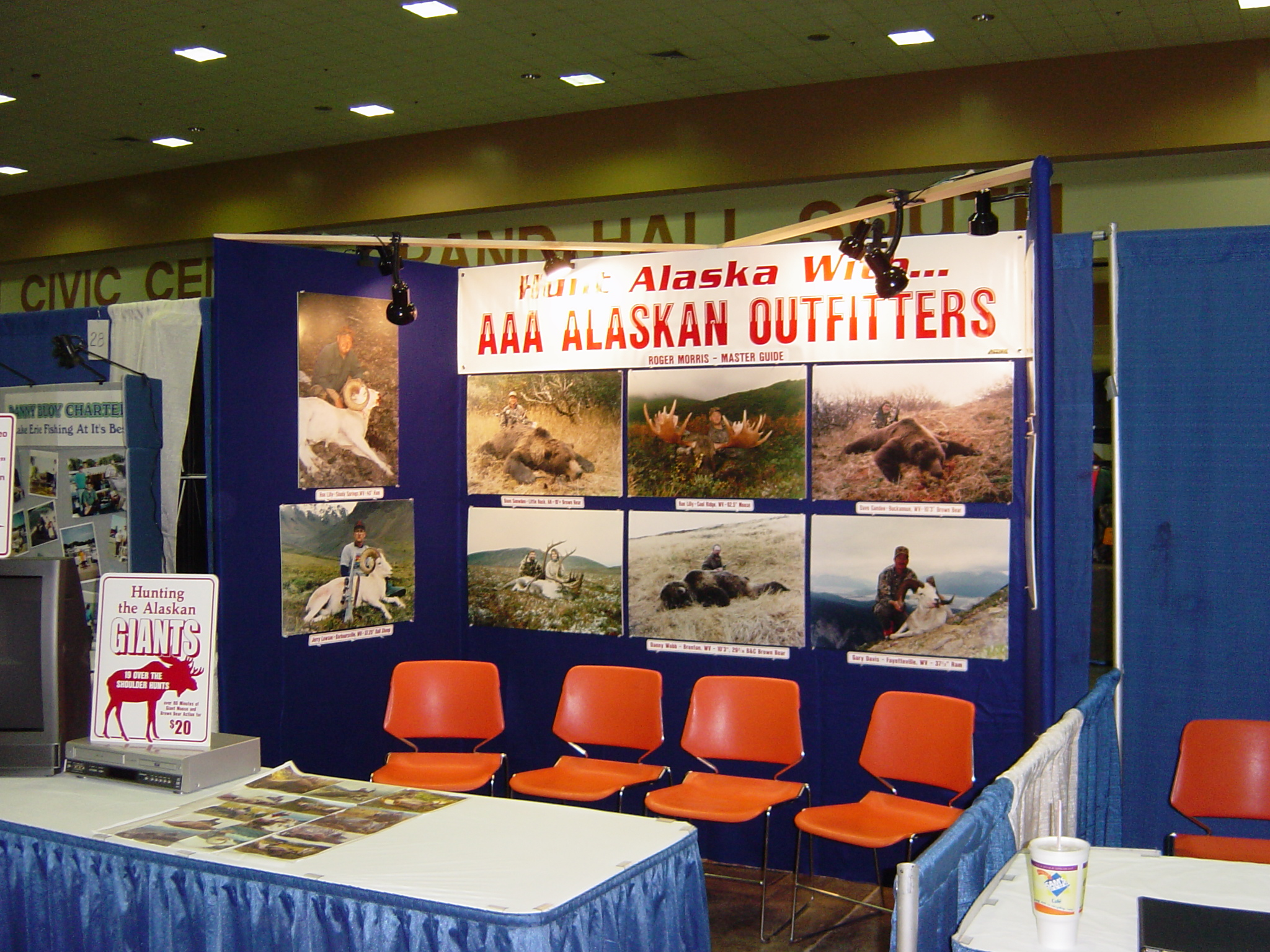 My booth at one of the last WV Hunting shows that I attended. All of the poster photos are WV hunters.