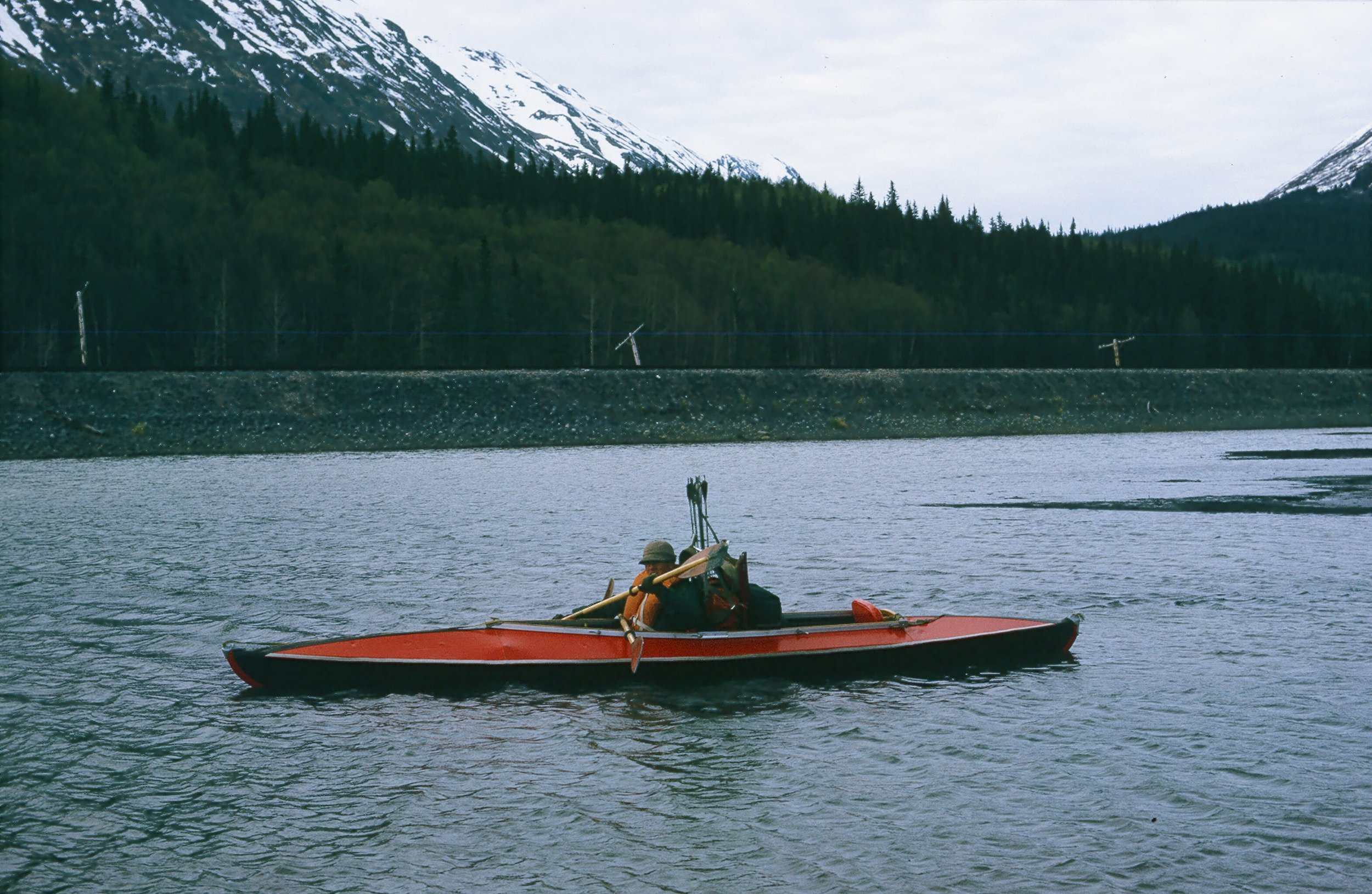 The Folboat that we used to cross the lake. This time it was on a spring black bear hunt.