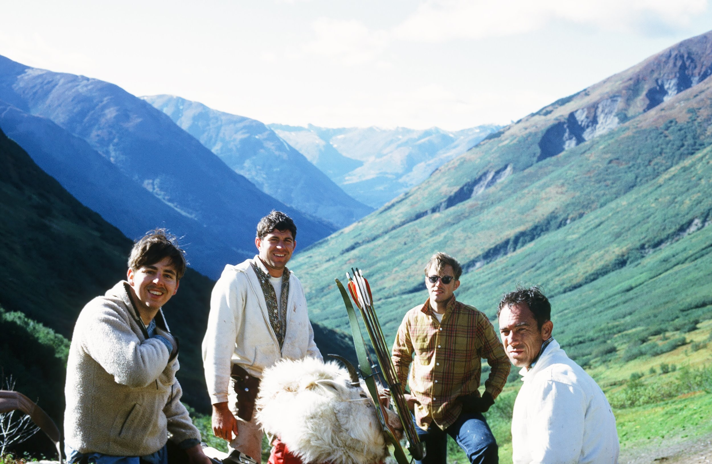 One of my many Gulch Creek goat hunts with my Air Force buddies (L to R) Bob Butler, myself, Russ Langston and Harold Spurgeon.