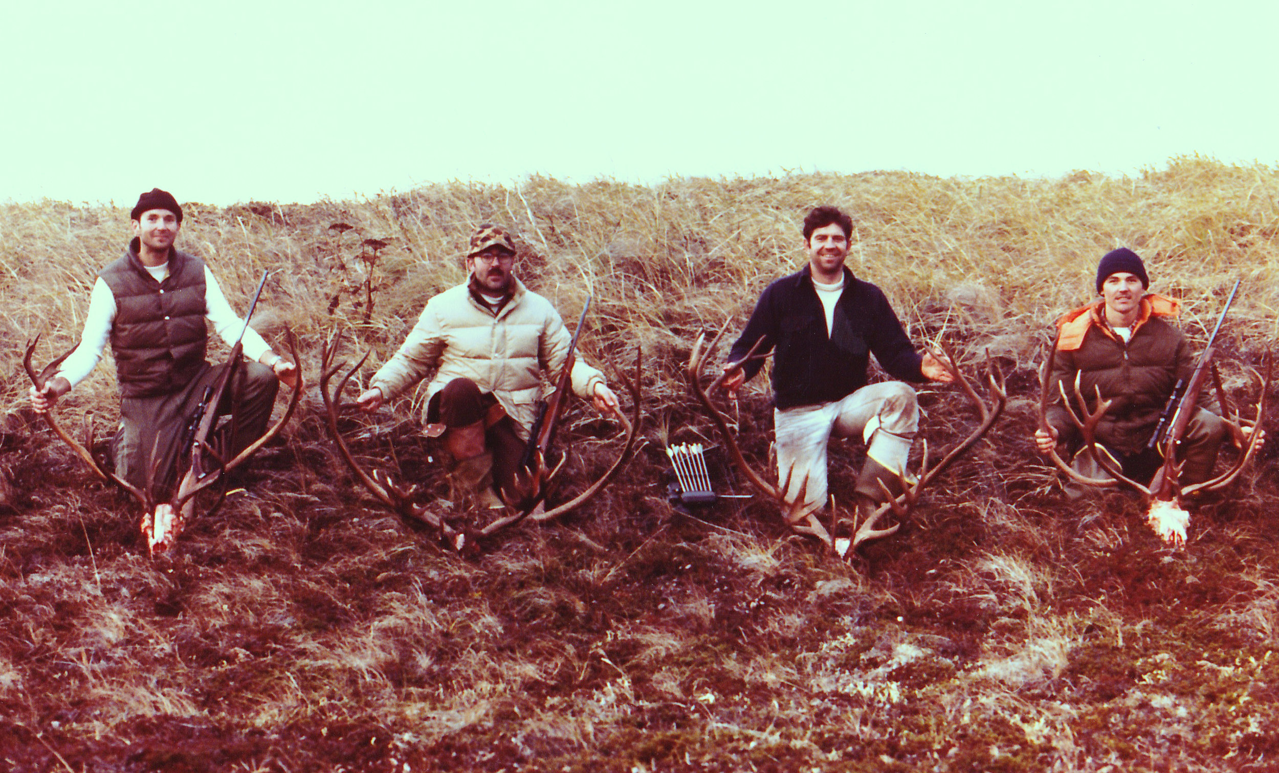 One of our Alaska Peninsula caribou hunts. (L to R) Mike Herbert, Earl Boucher, me and Scottie Bailey.