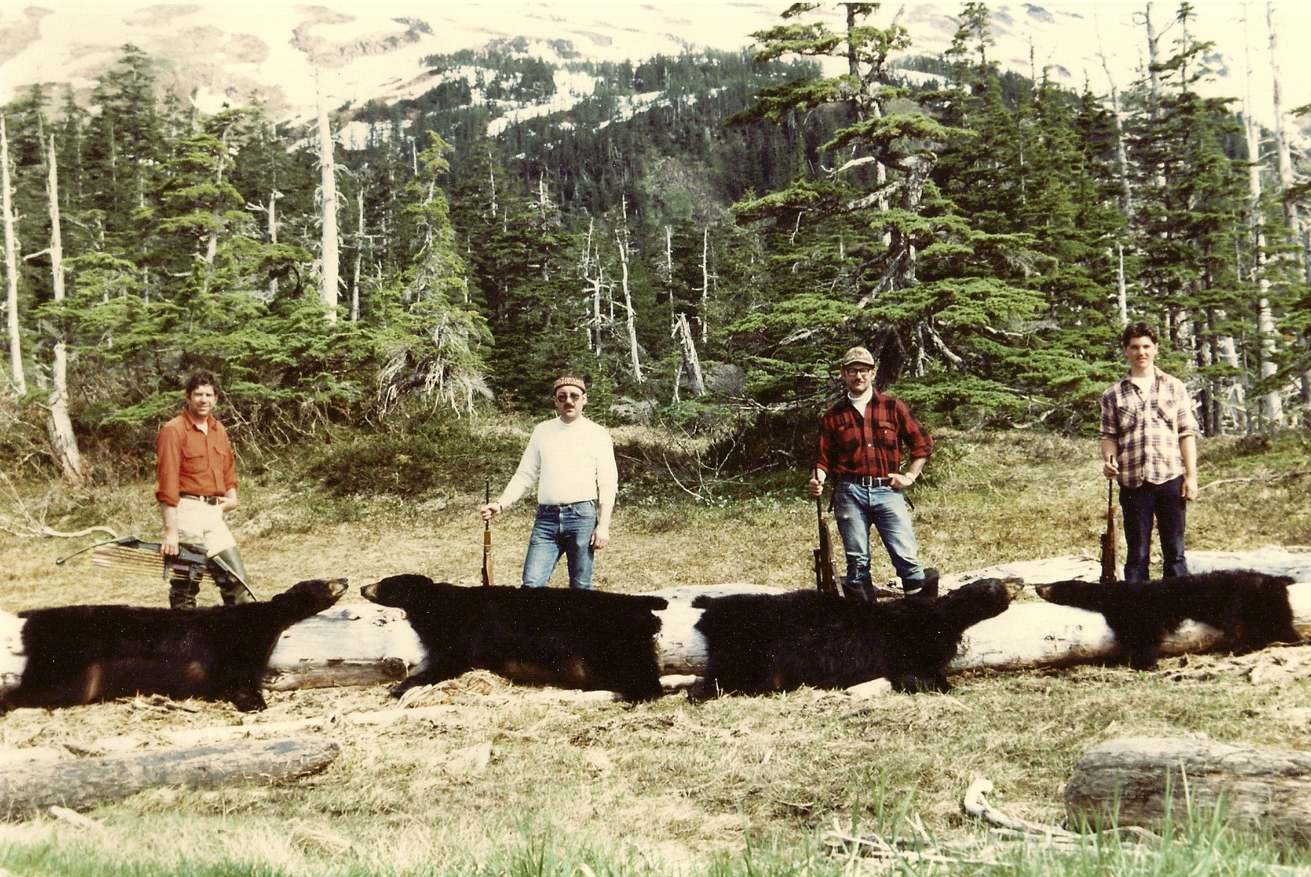 (R to L) Scottie Bailey, Dan Schwarzer, Earl Boucher and myself on one of our Prince William Sound spring black bear hunts.