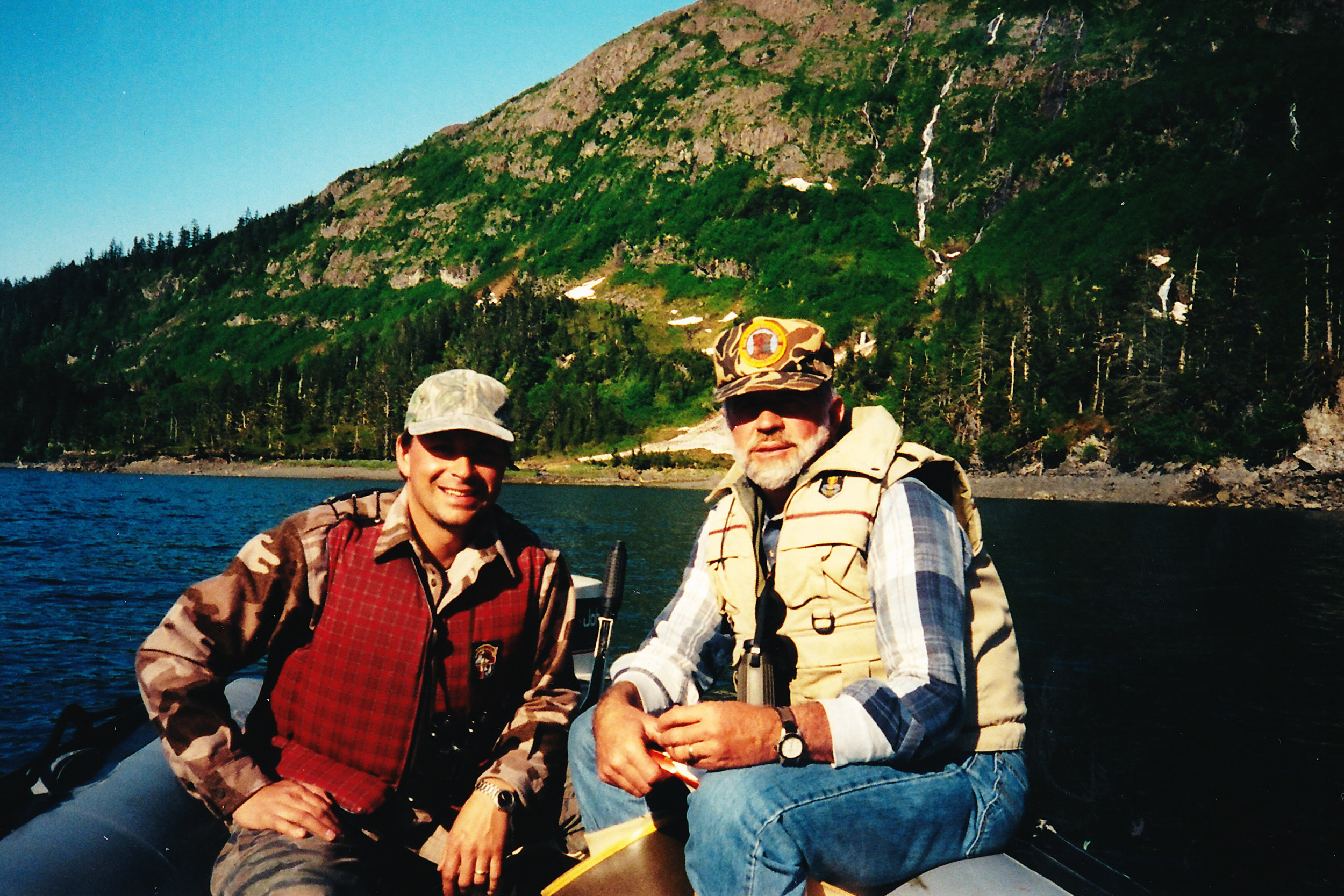 My son-in-law Sagen and me on a spring black bear hunt in Prince William Sound.