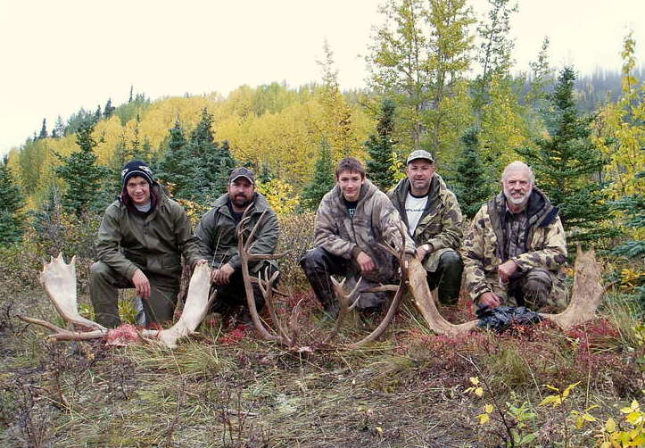 A family moose hunt. (L to R) Jens Juliussen, his father Thor Juliussen, my grandson Nathan, son-in-law Sagen and me.