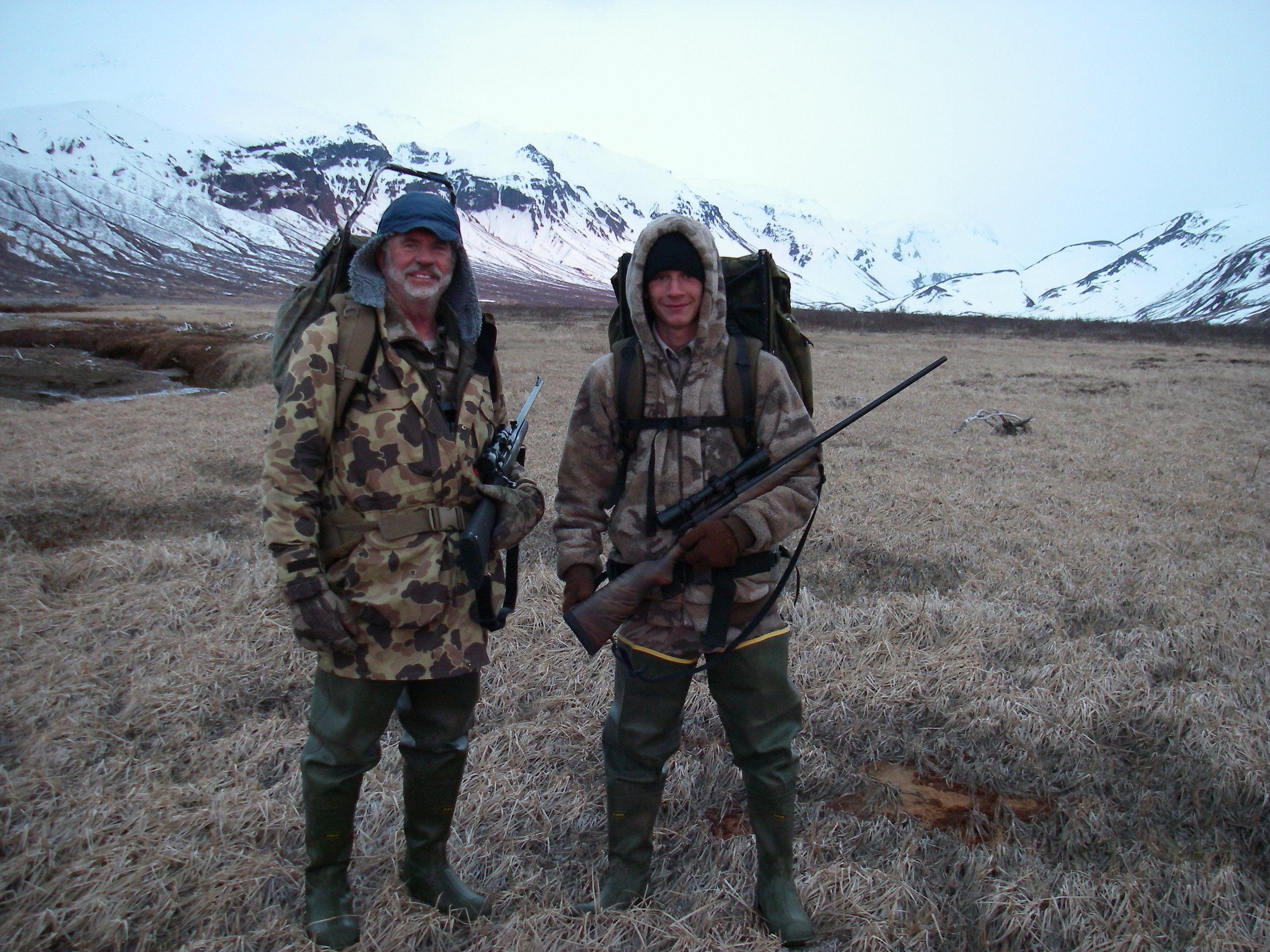 Jared and me hunting spring brown bear on the Alaska Peninsula.