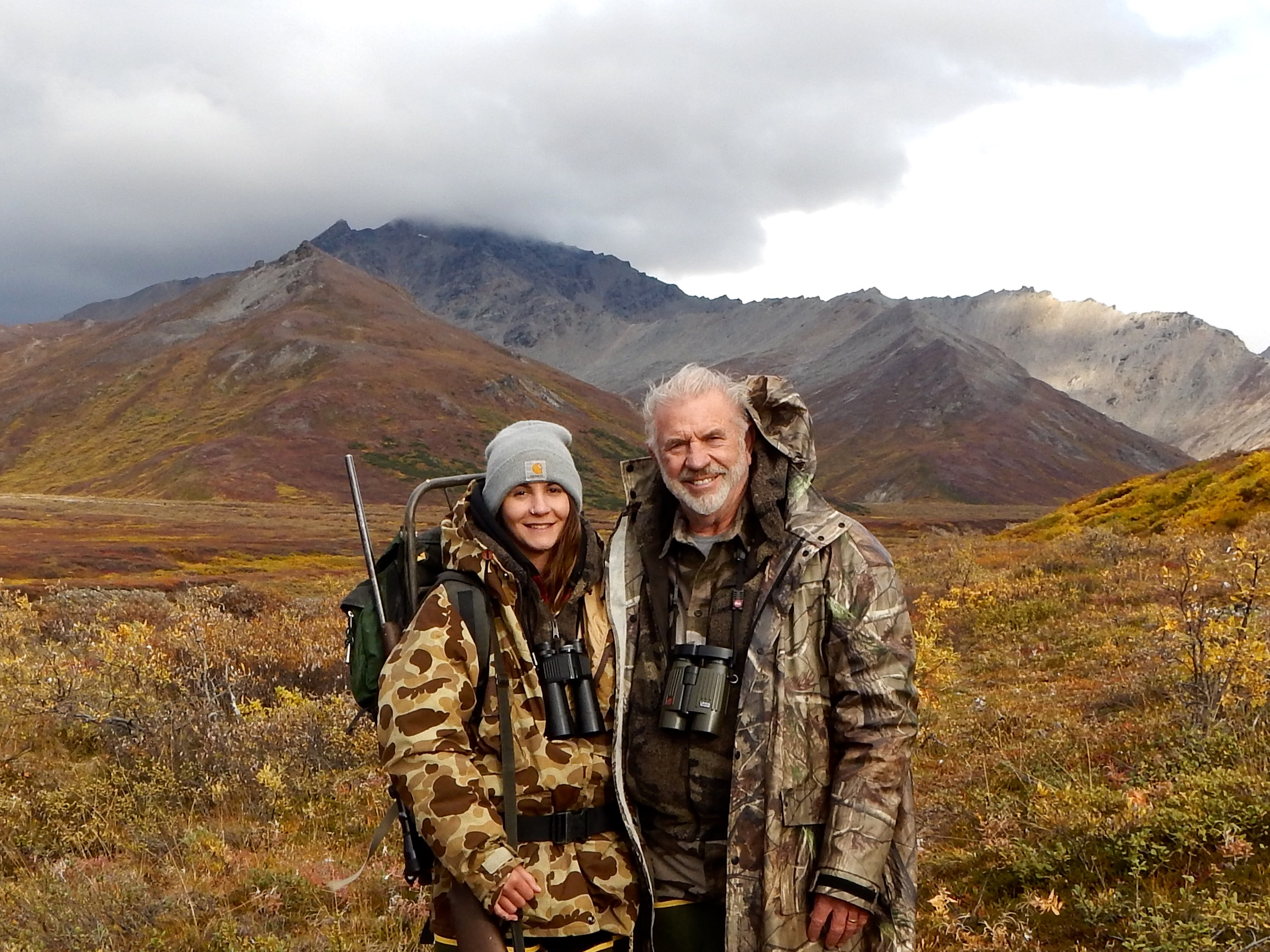 My granddaughter Rachel and me hunting caribou the fall of 2017.