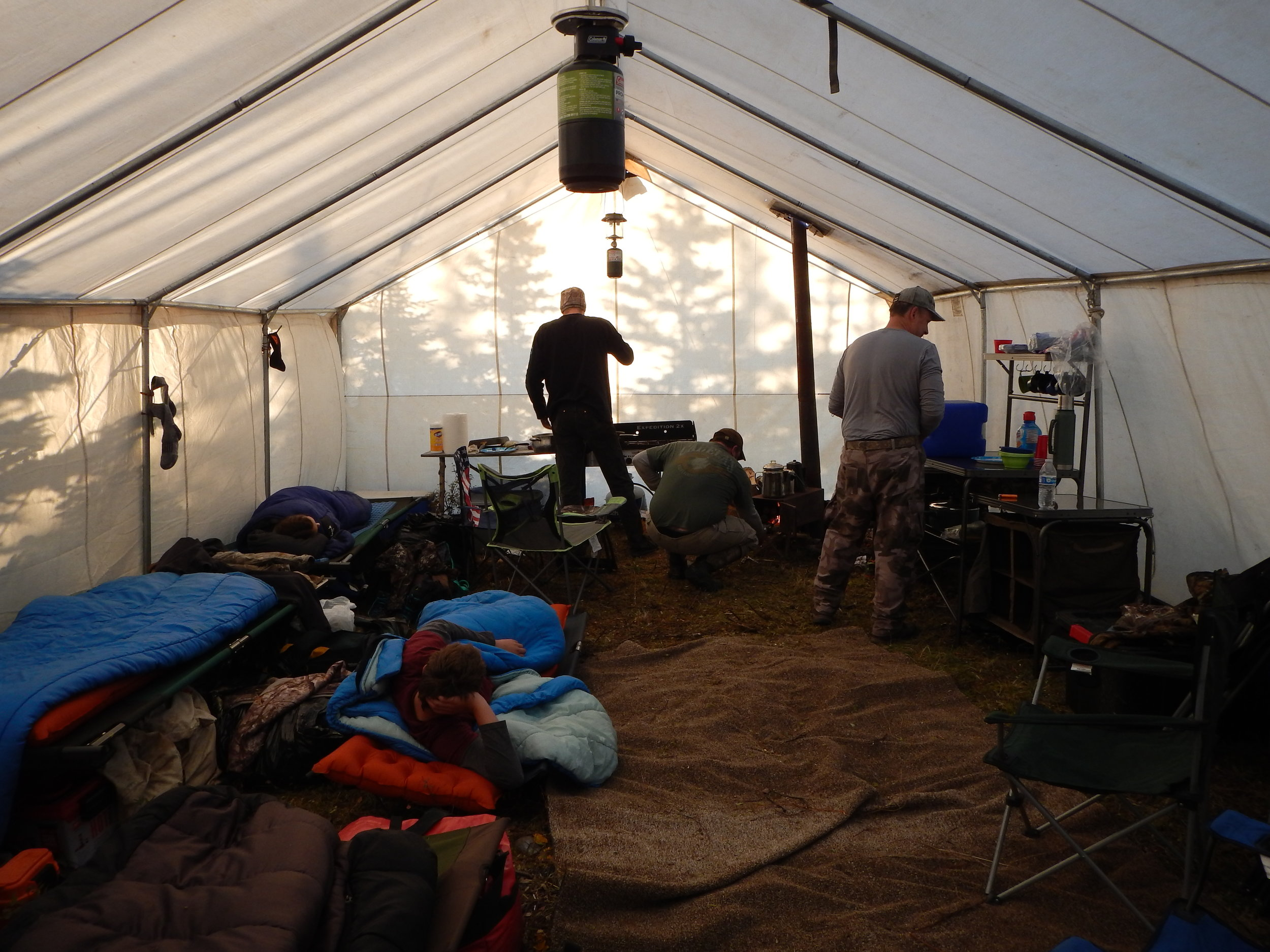 Inside the giant 16x27 Montana Wall tent. Quite a home.