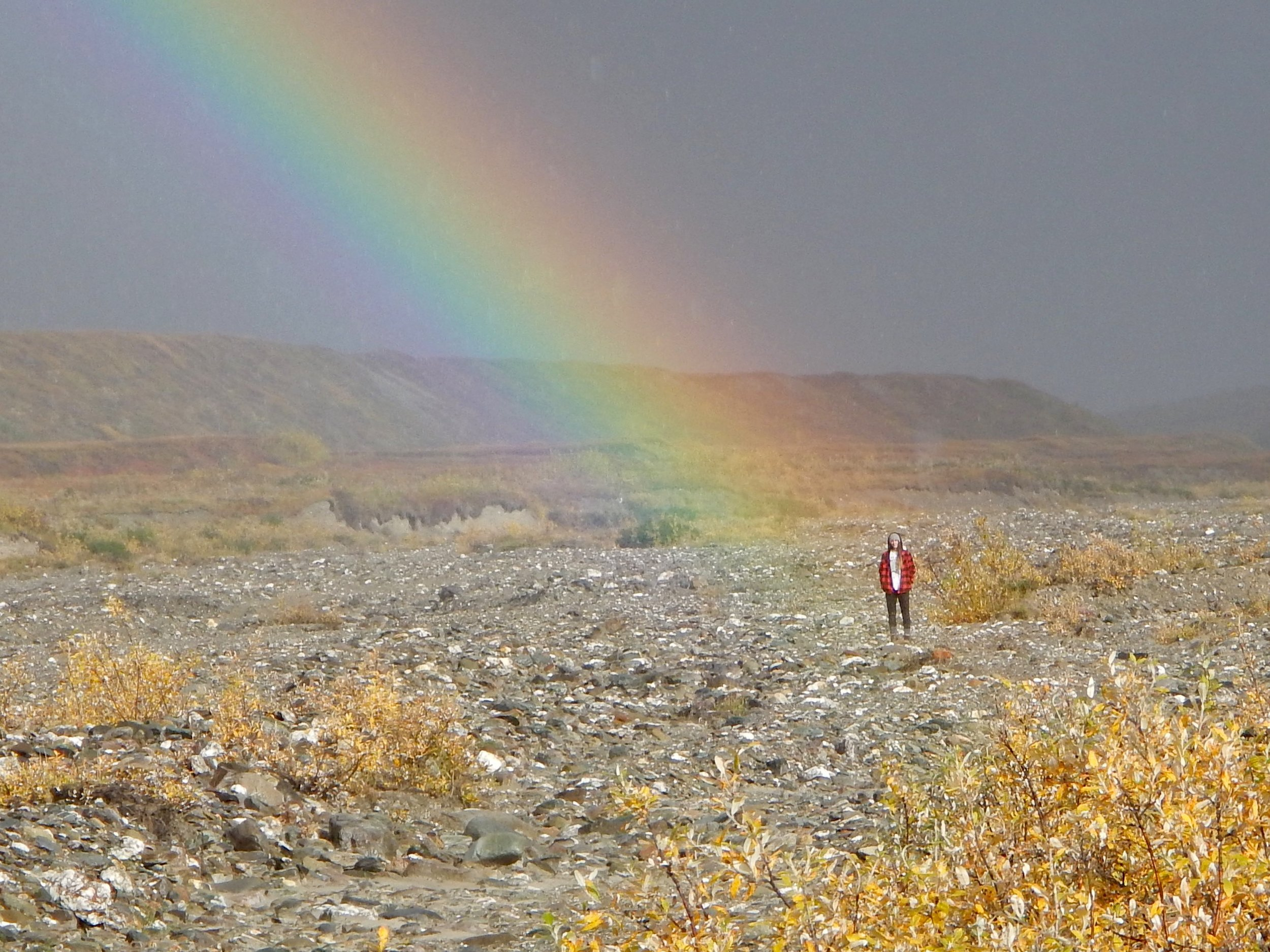 """I had to take this photo, Rachel looking for the """"pot of gold."""""""