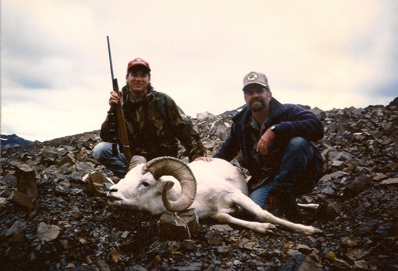 "Mike Sweeney and me with his 37"" ram."