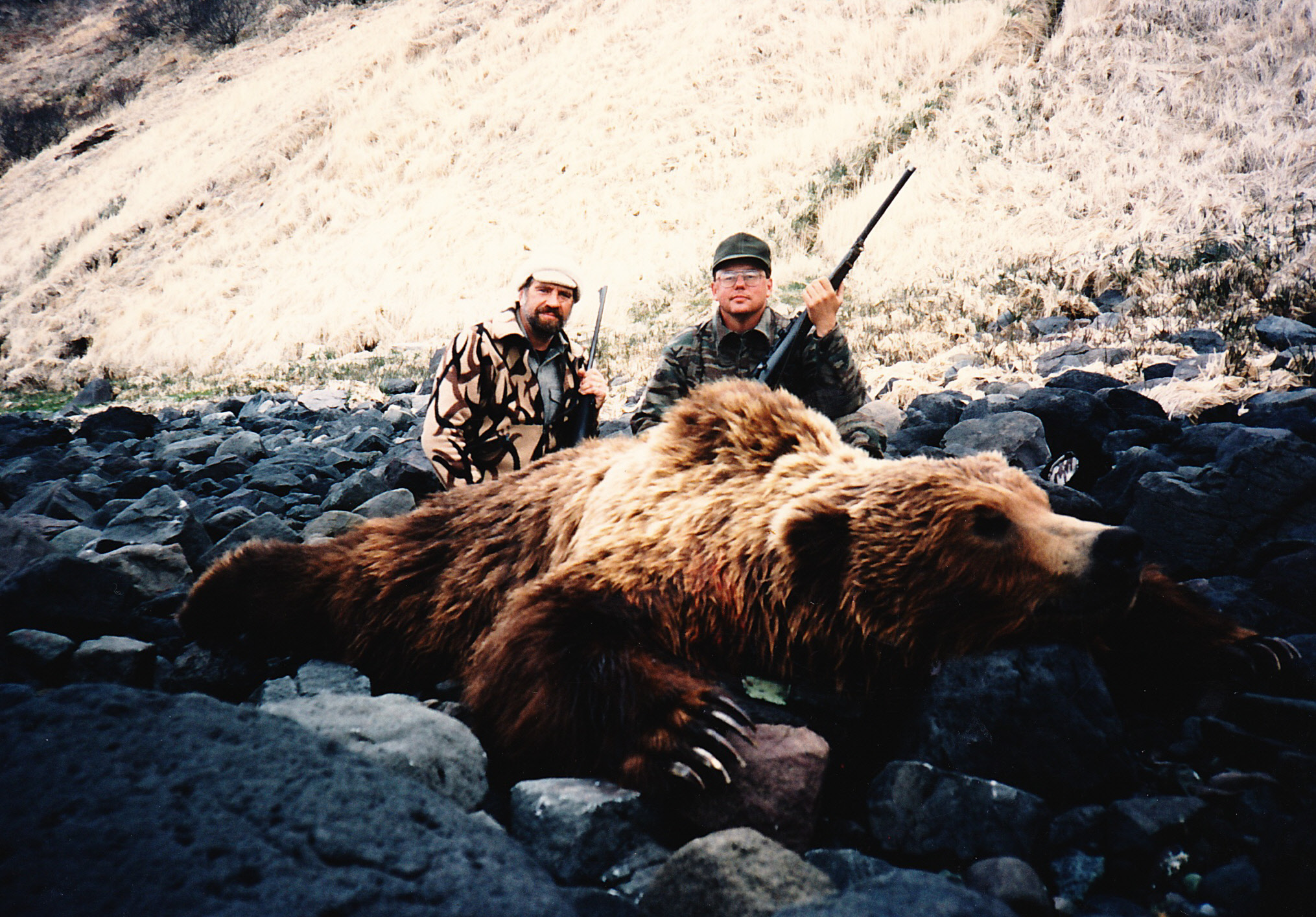 "Matt Caldwell from IL and me with his 10'1"" brown bear taken in '92 at our Cold Bay area."