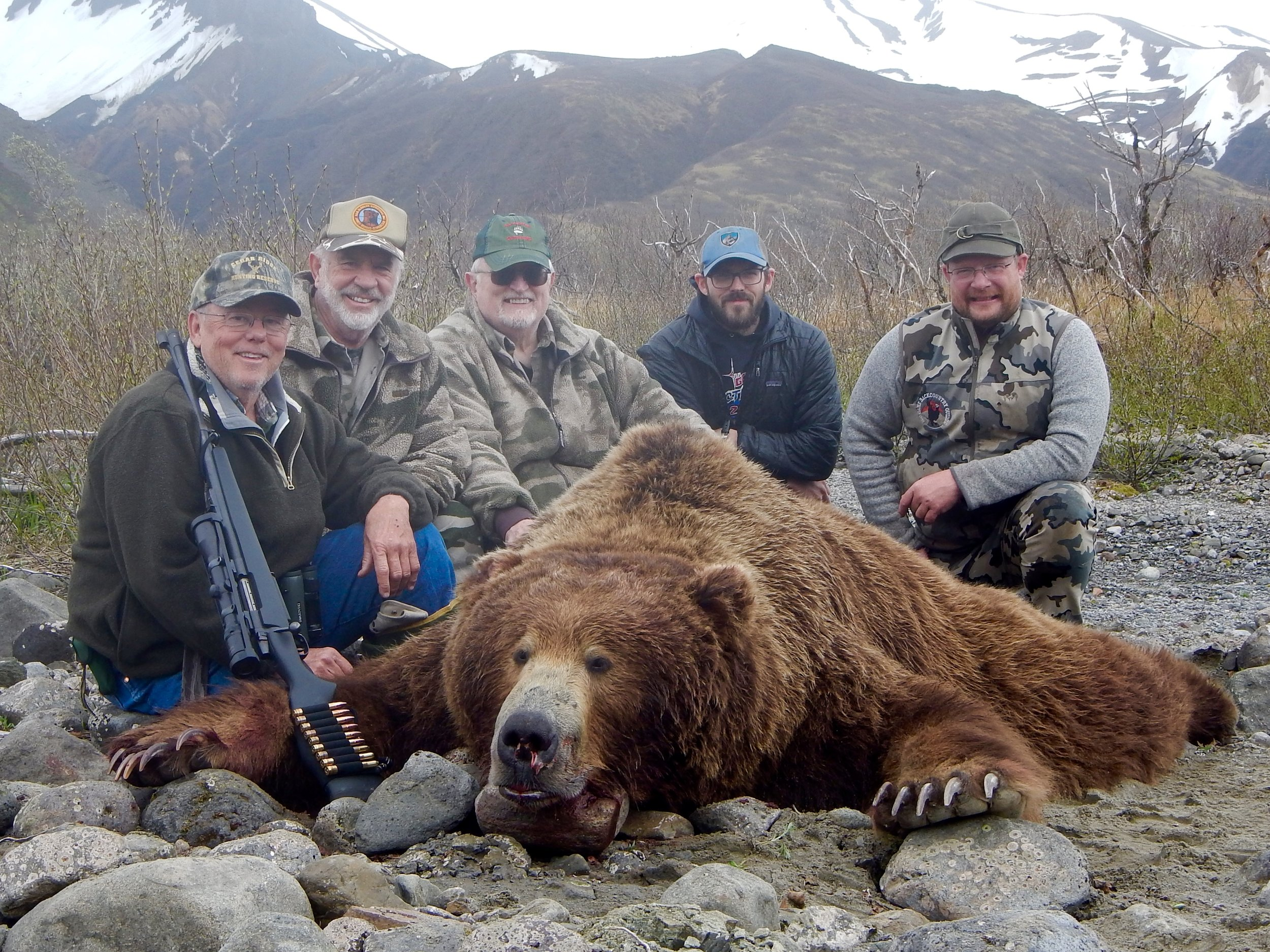 (L to R) Matt, me, Brent, Rob Wing and Riley Pitts gathered around Matt's bear.