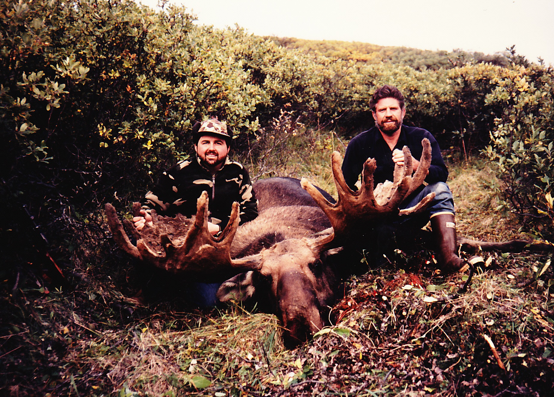 """Greg Hedgis and me with his 64"""" moose with the antlers in velvet."""