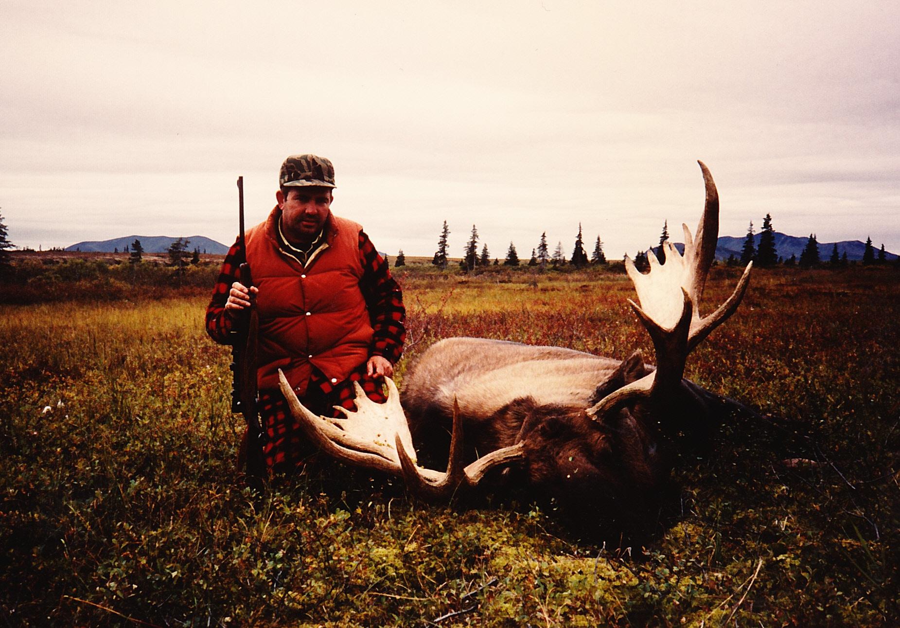 "Leonard Anderson with his 57"" moose taken in Western Alaska."