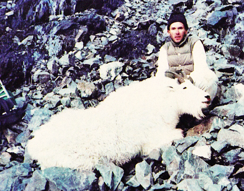 """Mike with his large 9 1/2"""" """"Billy."""" A truly great goat."""