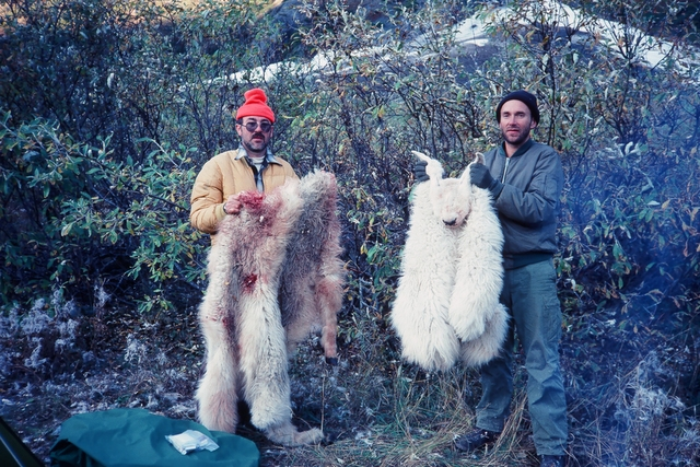 Earl with the full skin of his goat and Mike with his goat cape.