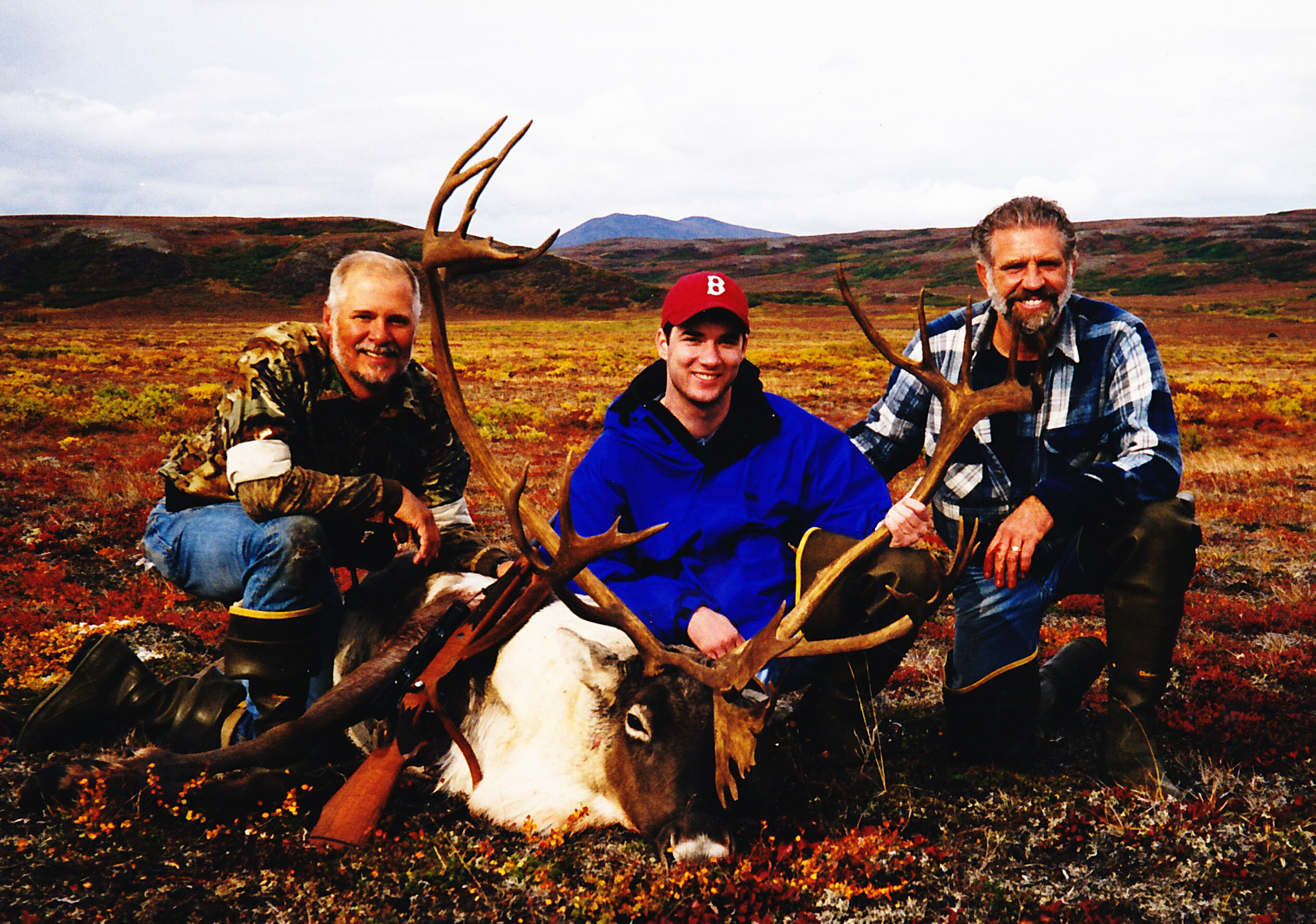 (L to R) Guide Dennis Byrne, Mike Sweeney, FL, and me not far from the Otter Lake base camp with Mike's double shovel caribou.