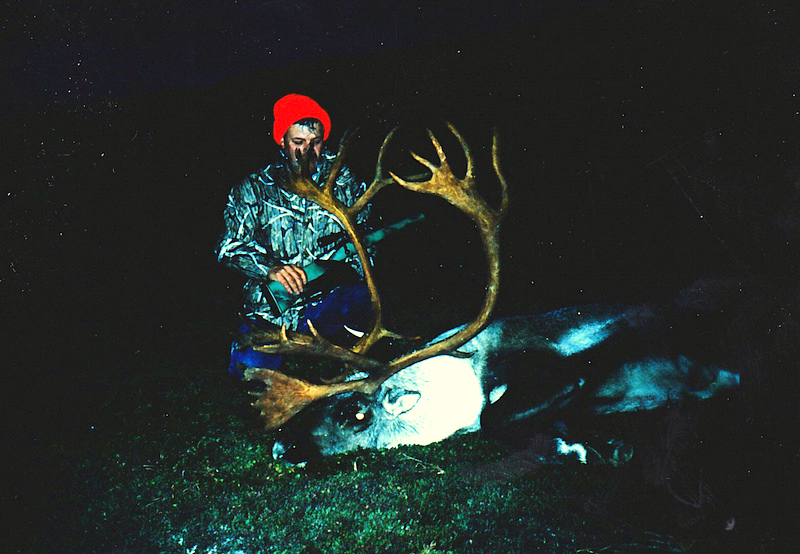 Chester Lewis from VA with his Alaska Peninsula caribou. A long dark walk out.