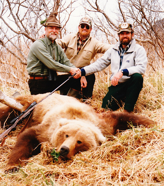 Mike Dobransky, Brent and me with his 9'+ brown bear.