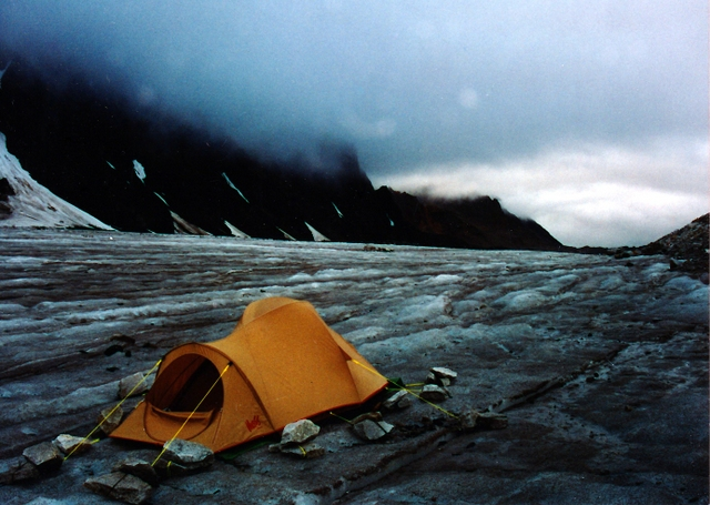 This is not my camp but one very similar and close to the same spot that I had camped. A cold camp for sure.