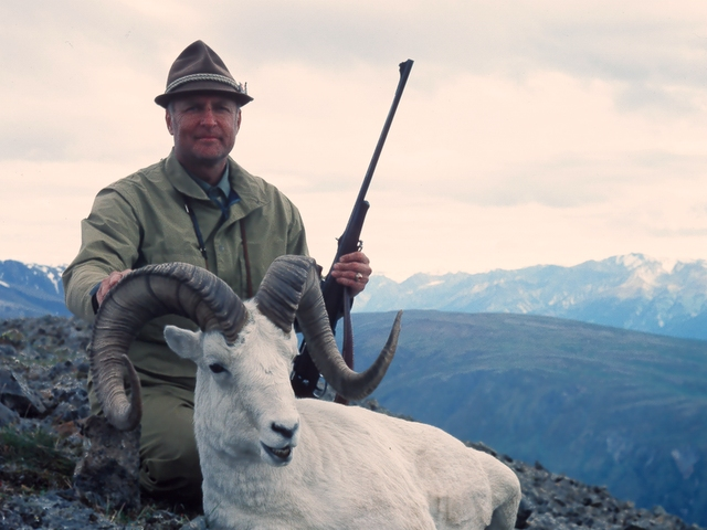 """Mike Dobransky from Anchorage, AK with his deep and wide 40 1/4"""" ram. AAA's first 40"""" incher."""
