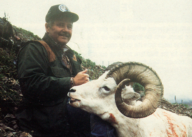 Pete Seda with his second big ram, a 41 incher, taken on the Barnard Glacier.