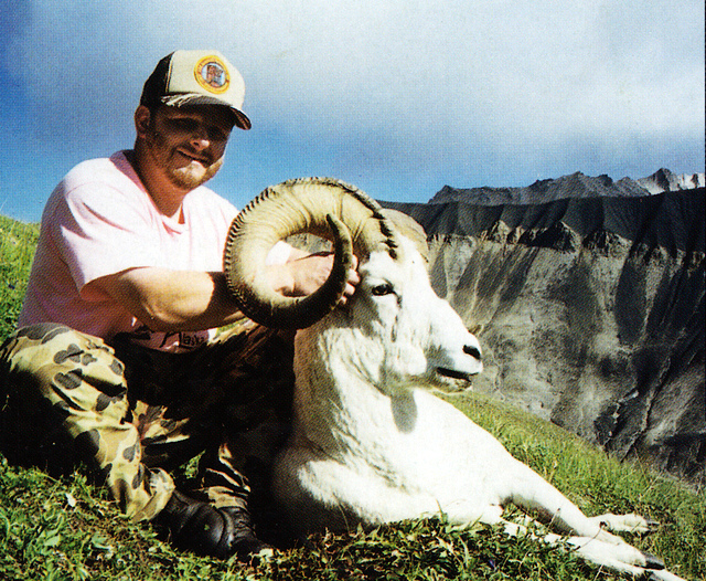"""Greg Stevenson with his 40 1/4"""" ram that was taken in Young Creek."""
