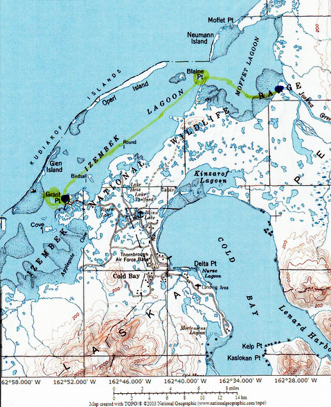 Map of the canoe trip across the Izembek and Moffet Lagoons.