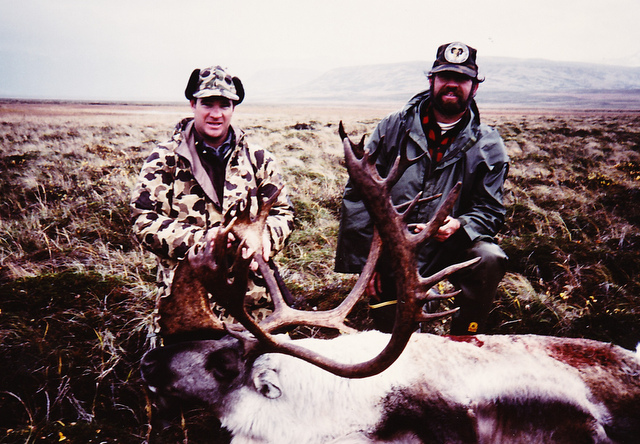 The first caribou taken on the trip. A young David Morris from GA.