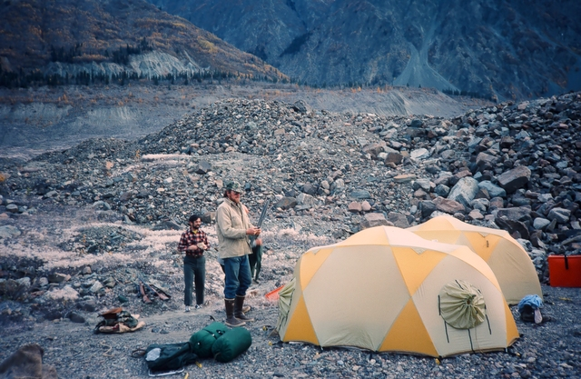 Brent setting up camp with John-Edward Alley in the background. We climbed the rock slide in the upper right side of the photo to access the mountain.