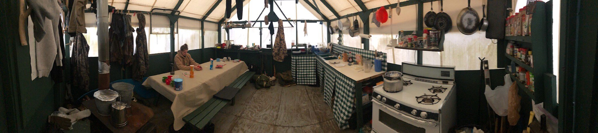 Cook tent, almost like it was when I retired fifteen years ago.
