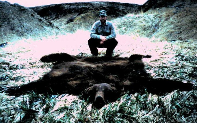 """Tim Orton with his 10'2"""" B&C Record Book brown bear taken in the spring of '84."""