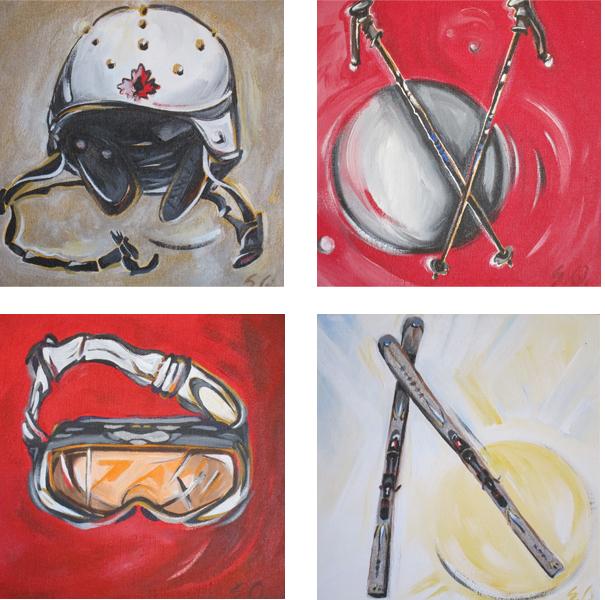 Helmet #1, Ski Poles #1, Goggles #1, Silver Skis #1 (Tile Series)
