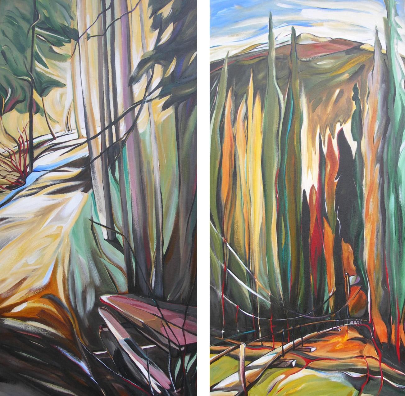 Path and Picnic Table at Panorama (Panorama Series #6)   <br> Toby Creek Suspension Bridge (Panorama Series #5)