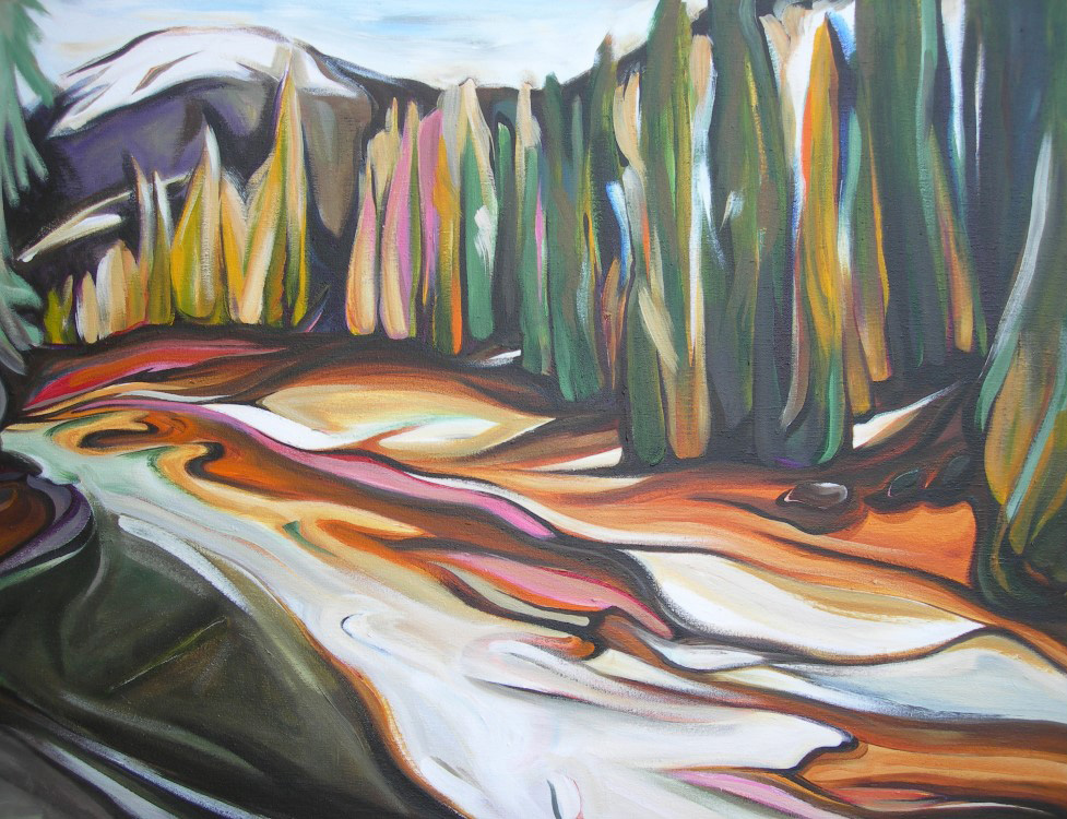 Mountains - Spring Thaw at Toby Creek (Panorama Series #4)  24 X 48  SOLD (1000 x 750).jpg