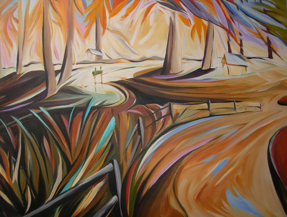 BC Gold Landscapes - Firs and Fences  30 X 40  SOLD (1000 x 750).jpg