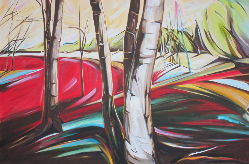 East of Eden 2011 - Birches Near the Creek #4 (Sunsilk Red Series)  40 X 60  AVAILABLE (1000 x 667).jpg
